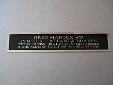 Greg Maddux Braves Autograph Nameplate For A Baseball Helmet Case / Photo 1.25X6