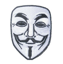 "Anonymous V Vendetta Guy Fawkes Mask Iron On Embroidered Patch 3.2""x2.5"""