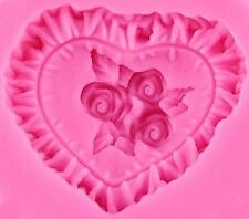 Ruffled Heart with Flowers Silicone Mold for Cupcake, muffin, treats, Crafts NEW