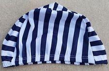 Poliéster Adultos Elástico Natación Sombrero Sombrero De Rayas Azul Marino Blanco Grueso