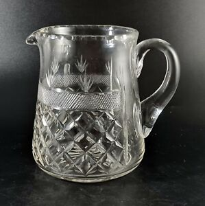 Vintage Crystal Clear Glass Jug Deep Cut - Perfect for Cocktail Mixing or Water
