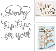 Spellbinders Lot 4pc Curly Font Hip Hooray Congratulation Die Celebration Set