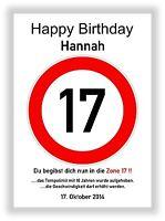 Verkehrszeichen Bild 17 Geburtstag Deko Geschenk persönliches Verkehrsschild NEU