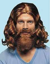 Brown Jesus Mens Wig & Beard Adult Religious Christmas Fancy Dress Accessory Set