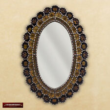 "Peruvian Oval Wall Mirror 30""x20"", Decorative Accent Wall Mounted Black Mirror"