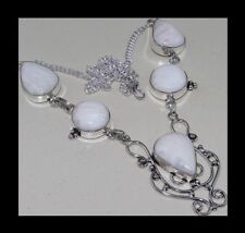 NEW - WHITE JASPER SILVER SCROLL SILVER PLATED STATEMENT PENDANT NECKLACE