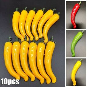 10* Large Artificial Chillies Simulation Fruit Fake Vegetable Pepper
