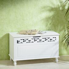 Wäschebox, antike Wäschetruhe mit Holzverzierung, Nostalgie Anrichte