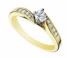 Round Cut 10K Yellow Gold Finish 1 Ct Women's Diamond Engagement Ring Solitaire