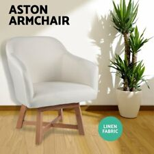Aston Tub Chair Armchair Solid Wood Lounge Sofa Accent Fabric Retro Beige AU