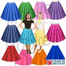 Ladies POLKA DOT or Plain ROCK N ROLL SKIRT 1950's Grease FANCY DRESS COSTUME