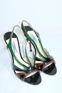 Prada Milano Leather Pump Sandals Brown Green Size 39