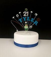 FISHING custom birthday cake topper, decoration personalised name, age