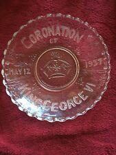 1937 King George Vi Coronation Souvenir Glass Bowl