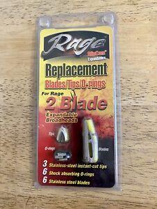 NEW Rage 2-Blade SlipCam Broadheads Replacement Blades Archery Hunting