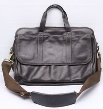 Levenger Bomber Jacket Leather Expanding Briefcase Bag Brown Carry On Luggage