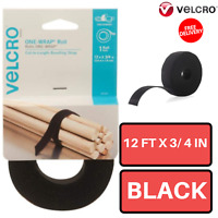 Self Gripping Multi Purpose Hook and Loop Tape 12 Ft x 3/4 In Black Velcro Brand