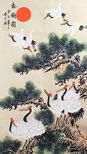 Rollbild chinesische Malerei Kraniche unter Kiefern Bildrolle Hängerolle China