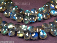 "Premium Natural Fiery Labradorite Gems Faceted Pear Briolette Beads 8"" Strand"