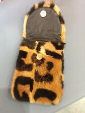 6x4´´ SPOTTED MINK FUR BAG HANDBAG PURSE POUCH FULL LEATHER IPHONE CASE CHAINE
