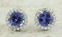 Tanzanite and diamond stud earrings in 14k white gold Over 2.40 CT For Womens