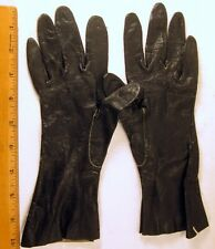 """Antique Small Leather Black Kid Gloves Size 10"""" x 2 1/2"""" Usa (#1)"""