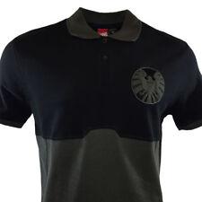 MARVEL AVENGERS SHIELD Eagle AGENT Men's Embroidered Polo Shirt - Black/Gray - S