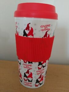 Christmas GNOME FOR THE HOLIDAYS Tumbler Gobelet Mug 16 oz with Grip Pad New