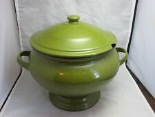 Avocado green enamelware enamel soup tureen