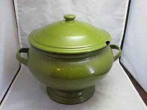 Avocado green enamelware soup tureen