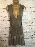Hoss Intropia Ladies Khaki Merino Wool Drop Waist Dress Size M UK 12