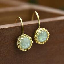 Women Opal Hook Earrings Trendy Anniversary 18K Gold Filled  Drop Dangle Gift