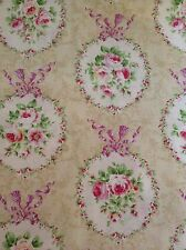"""Lecien Roccoco Sweet fabric - 100% Cotton -44/45"""" BTY - Creamy Pale Yellow/roses"""