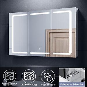 Spiegelschrank Bad 100 cm LED mit Beleuchtung Badschrank Steckdose Badspiegel