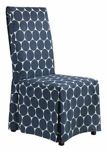 NEW Sure Fit IKAT parson Dining Room Chair Slipcover navy blue dot washable B