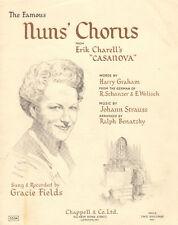 NUN'S CHORUS Music Sheet-CASANOVA-1949-GRAHAM/STRAUSS-GRACIE FIELDS-British
