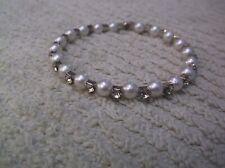 Vintage Silvertone Bangle/Cuff Bracelet With Faux Pearls & Clear Rhinestones