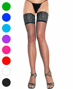 Plus Size Lace Lycra Sheer Stay Up Thigh High Stockings - Leg Avenue 9750Q