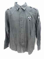 Raider Authentic Military Gray Long Sleeve Button Up Shirt Mens Large Regular