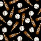 One of Kind Beer & Baseballs Tossed Black 100% Cotton Fabric by The Yard