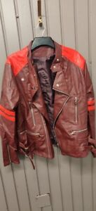 Light Weight Classic Motorcycle Style Jacket- Ox Blood & Red