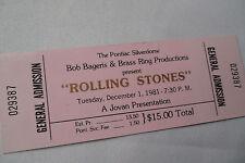 ROLLING STONES 1981 Unused CONCERT TICKET -  Pontiac, SILVERDOME