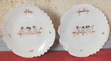 2 piatti porcellana di Limoges decoro bambini umoristica