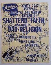 SHATTERED FAITH/BAD RELIGION/Doggy Style Original Show Flyer 1987 HC PunK KbD