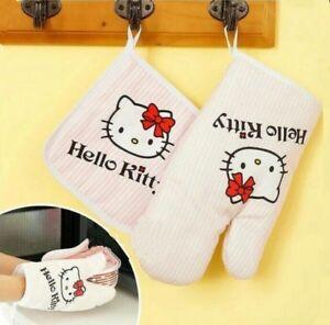 2pcs Cute Hello Kitty Cotton Oven Mitts Heat Insulation Gloves & Pad Kitchen Kit