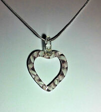 Murano Glass Heart Pendant in White on 925 Sterling Silver Necklace