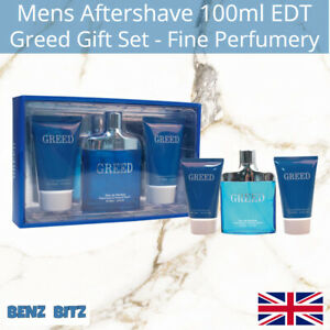 Greed Gift Set Mens Aftershave By Fine Perfumery 100ml EDT Eau De Toilette Spray