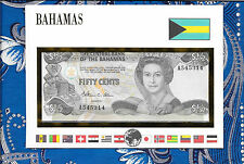 E Banknotes of All Nations Bahamas 50 Cents 1984 P42  AUNC A545314 Allen