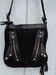 AUDREY BROOKE GENUINE LEATHER PURSE CROSSBODY Shoulder Bag Black