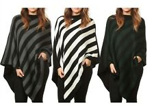 Ladies Women Fashion Knitted Stripe Poncho Crew Neck Warm Wrap Shawl Sweater Top